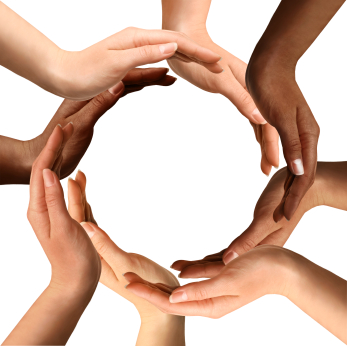 Multi racial hands making circle