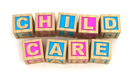 'Child Care' spelled in blocks